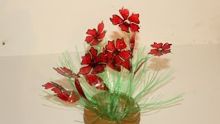 getlinkyoutube.com-Best Out Of Waste Plastic bottles transformed to lovely Red Flower plant Showpiece