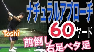 ゴルフ60ヤードアプローチ!当然右足ベタ足!前倒しが必須【Toshi】WGSLレッスンgolfドライバードラコンアイアンアプローチパター