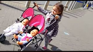 getlinkyoutube.com-Playing with Baby Doll Twin Stroller / Outdoor Playground / Kids Song
