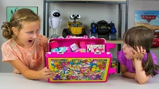 getlinkyoutube.com-HUGE Neon Star Surprise Toys Suitcase Shopkins Barbie Disney Unicorno Fun Girls Toys Kinder Playtime
