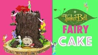getlinkyoutube.com-Tinkerbell Fairy CAKE - How to make a Tree Stump Cake with Tinker Bell Fairies