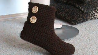 getlinkyoutube.com-Crochet Glama's 2 in 1 Bootie Slipper Tutorial, Super Easy For Beginners