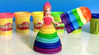 getlinkyoutube.com-Learn Colors of Rainbow with Bathtub Fingerpaint and Play Doh Scoops 'n Treats Rainbow Popsicles