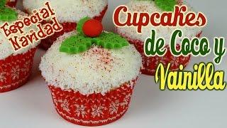 getlinkyoutube.com-Cupcakes de coco y vainilla para navidad
