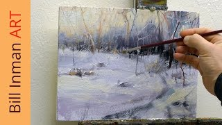 getlinkyoutube.com-How to Paint Winter Snow - Art Class Oil Painting Demo by Bill Inman