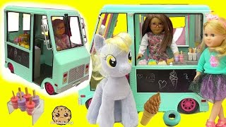 getlinkyoutube.com-American Girl Doll Serves My Little Pony Derpy + Shopkins Food At Ice Cream Truck