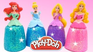 getlinkyoutube.com-DIY How Make Super Glitter Play Doh Disney Princess Dresses Ariel Elsa Anna Magiclip RL