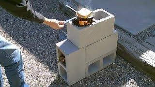 "getlinkyoutube.com-The ""4 Block"" Rocket Stove! - DIY Rocket Stove - (Concrete/Cinder Block Rocket Stove) - Simple DIY"
