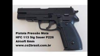 getlinkyoutube.com-Pistola de Pressão Mola HFC 113 Sig Sauer P226 Airsoft 6mm co2brasil
