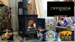 getlinkyoutube.com-HYBRID WOOD STOVE / WASTE OIL FURNACE  THE VIAR 94' IN OPERATION By KVUSMC