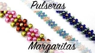 getlinkyoutube.com-Pulsera Margaritas con Rocallas