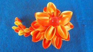 cara membuat bros cantik sederhana dari pita 2.5 cm -Diy tutorial,kanzashi flower