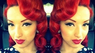 getlinkyoutube.com-Retro Vintage Pin Curls Using A Clipless Iron or Curling Iron HD