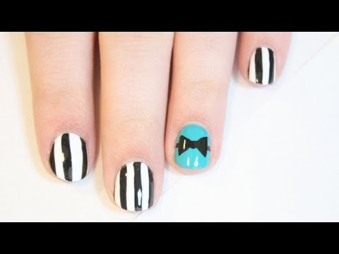 Very Easy Pinstripe Bow Nail Art | TotallyCoolNails