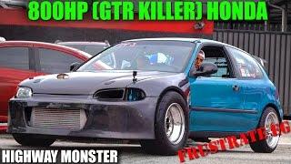 getlinkyoutube.com-800HP TURBO CIVIC (GTR KILLER) TAKES OVER THE HIGHWAY - FRUSTRATE EG