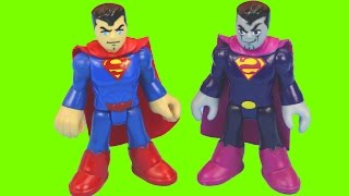 getlinkyoutube.com-Imaginext Bizarro captures Construction worker and Superman Saves him Robot War Battle