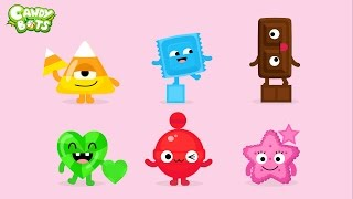 getlinkyoutube.com-Candy Shapes (Candybots) - Draw 6 basic shapes circle, square, rectangle - Apps for Kids