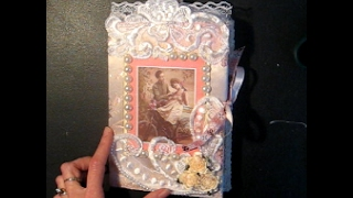 getlinkyoutube.com-Quick Tutorial - Satin Fabric, Lace & Wedding Applique Greeting Card (w/ Vintage Ladies Printables)