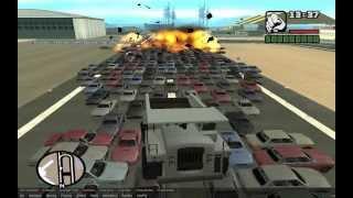 getlinkyoutube.com-Взрыв (не знаю сколько) машин в GTA San Andreas