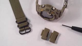 getlinkyoutube.com-How To Use Zulu or NATO strap on Casio GShock Rangeman 9400 with JaysAndKays Adapters #jaysandkays