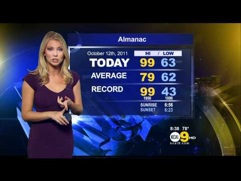 Evelyn Taft 2011/10/12 8PM KCAL9 HD; Tight purple dress, low-cut