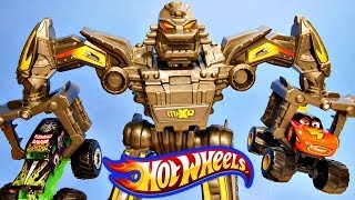 getlinkyoutube.com-Hot Wheels Maximum Destruction Battle Pixar Cars Toon Monster Truck Frightening McMean Grave Digger