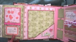 getlinkyoutube.com-Baby Girl Scrapbook Mini Album (based on my interactive 8x8 album tutorial)
