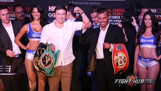 getlinkyoutube.com-Gennady Golovkin vs. David Lemieux COMPLETE Face Off Video in Los Angeles