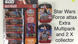 getlinkyoutube.com-Star Wars the Force Awakens Force Attax Extra multipack and 2 collectors tins opened Topps