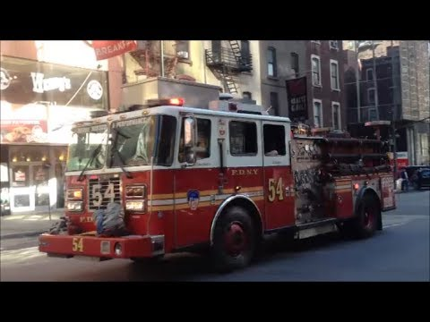 FDNY Engine 54 Responding With Nice Air Horn Usage To An EMS Run On 55th Street & 8th Avenue