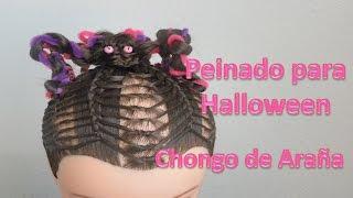 getlinkyoutube.com-Peinados para niñas Peinado Para Halloween Chongo de Araña (Halloween hairstyle)