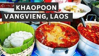 getlinkyoutube.com-Lao Food - Khao Poon in Vang Vieng, Laos