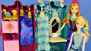 getlinkyoutube.com-NEW Frozen Royal Closet Anna and Elsa Disney Barbie Doll Carrying Case Coronation Dress-up