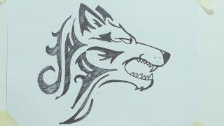 How to draw a tribal wolf head tattoo رسم ذئب