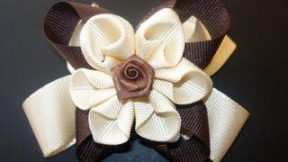 getlinkyoutube.com-DIY flores o moños en cintas  paso a paso  hair accessories No.060  Manualidades la Hormiga