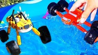 getlinkyoutube.com-Blaze & Moster Trucks. Monter Truck Toys. Meeting Lightning McQueen. Review of kids' toys