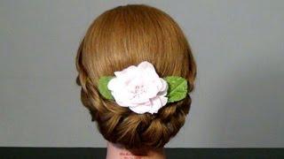 getlinkyoutube.com-Прическа с плетением на средние волосы.  Braided  updo hairstyles