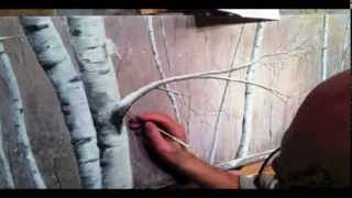 getlinkyoutube.com-Winter Birch Forest - Acrylic Painting Time Lapse Video