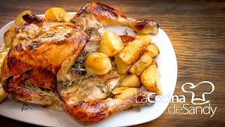 getlinkyoutube.com-Pollo al horno con romero miel mostaza y limon en recetas de cocina faciles con pollo