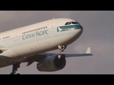 Heavy Cross Wind Landing Cathay Pacific Airbus A330-342 (B-HLE) @NARITA RWY16R