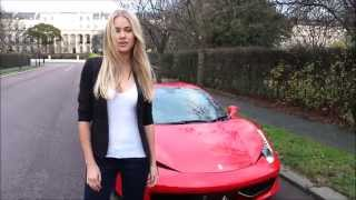 Girl driving her brand new Ferrari 458 Spider