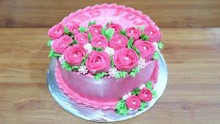 Cara Menghias Kue Ulang Tahun Bunga Mawar Simpel width=