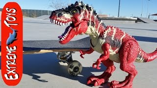 Toy T-Rex Shredding and the Skate Park!  Dinosaur Toy learns to Ride a Skateboard.