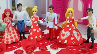 getlinkyoutube.com-Play Doh Disney Princess Rapunzel Cinderella Magic Clip Dress Fairytale Wedding Doll