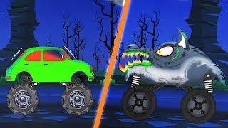 getlinkyoutube.com-werewolf monster truck attacks | scary monster trucks for children