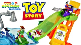 getlinkyoutube.com-Toy Story Slide 'N' Surprise Playground 4 Color Changing Splash Buddies Disney Pixar Cars Spongebob