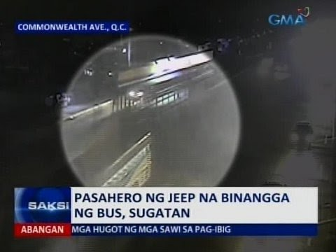 Pasahero ng jeep na binangga ng bus sa QC, sugatan | Video | GMA News ...