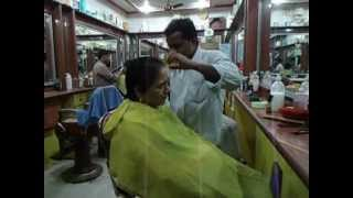 getlinkyoutube.com-Aruna Sharma in Hair Salon Lanka Varanasi, India for Haircut Jan 15, 2013