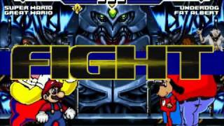getlinkyoutube.com-Super Mario and Wario vs Underdog and Fat Albert MUGEN Battle!!!