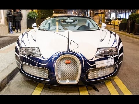Bugatti Veyron L'Or Blanc in Paris + Aston Martin One-77 !! Start up sound and details
